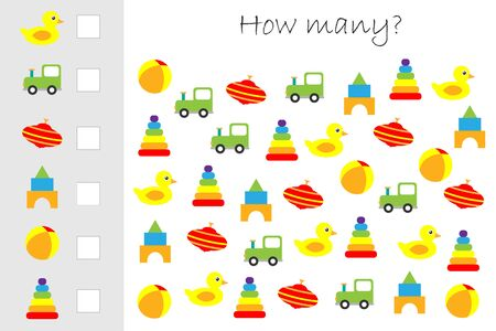 How many counting game with colorful toys for kids, educational maths task for the development of logical thinking, preschool worksheet activity, count and write the result, vector