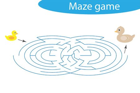 Labyrinth game, help the duckling to find a way out of the maze, cute cartoon character, preschool worksheet activity for kids, task for the development of logical thinking, vector Illustration