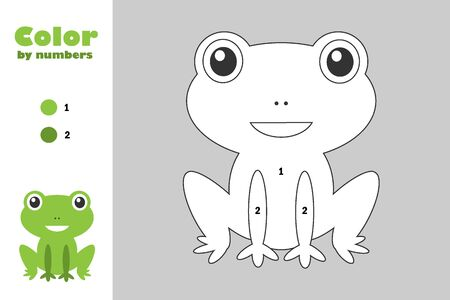 Green frog in cartoon style, color by number, education paper game for the development of children, coloring page, kids preschool activity, printable worksheet, vector