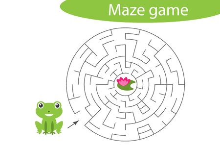 Labyrinth game, help the frog to find a way out of the maze, cute cartoon character, preschool worksheet activity for kids, task for the development of logical thinking, vector