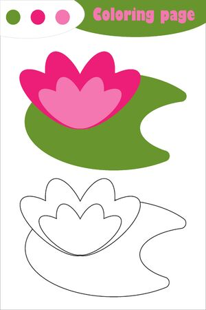 Water lily in cartoon style, coloring page, spring education paper game for the development of children, kids preschool activity, printable worksheet, vector Illustration