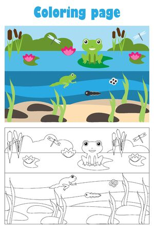 Pond with frog, cartoon style, coloring page, education paper game for the development of children, kids preschool activity, printable worksheet, vector
