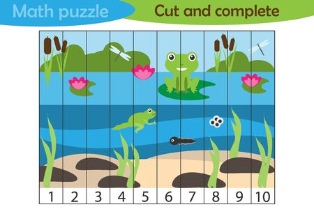 Math puzzle, pond with frog in cartoon style, education game for development of preschool children, use scissors, cut parts of the image and complete the picture, vector