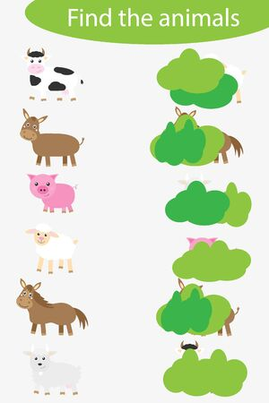 Who are hidding, matching game with farm animals for children, fun education game for kids, educational task for the development of logical thinking, preschool worksheet activity, vector