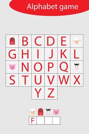 Farm alphabet game for children, make a word, preschool worksheet activity for kids, educational spelling scramble game for the development of children, vector Ilustração