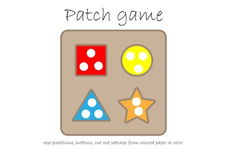 Education Patch game puzzle shape for children to develop motor skills, use plasticine patches, buttons, colored paper or color the page, kids preschool activity, printable worksheet, illustration