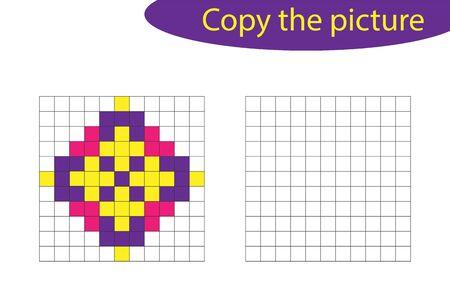 Copy the picture, pixel art, mandala cartoon, drawing skills training, educational paper game for the development of children, kids preschool activity, printable worksheet, vector Vettoriali