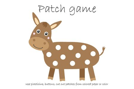 Education Patch game donkey for children to develop motor skills, use plasticine patches, buttons, colored paper or color the page, kids preschool activity, printable worksheet, vector