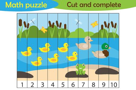 Math puzzle, pond with ducks in cartoon style, education game for development of preschool children, use scissors, cut parts of the image and complete the picture, vector