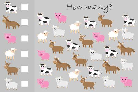 Wie viele Zählspiele, Nutztiere für Kinder, pädagogische mathematische Aufgabe für die Entwicklung des logischen Denkens, Vorschularbeitsblattaktivität, zählen und schreiben Sie das Ergebnis, Vektor