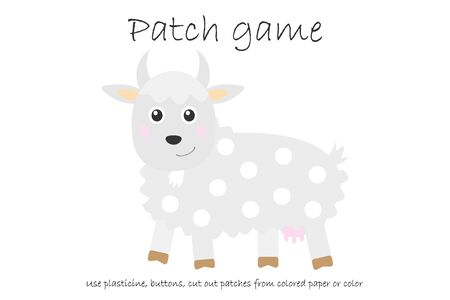 Education Patch game goat for children to develop motor skills, use plasticine patches, buttons, colored paper or color the page, kids preschool activity, printable worksheet, vector
