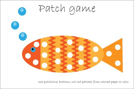 Education Patch game fish for children to develop motor skills, use plasticine patches, buttons, colored paper or color the page, kids preschool activity, printable worksheet, vector Illustration