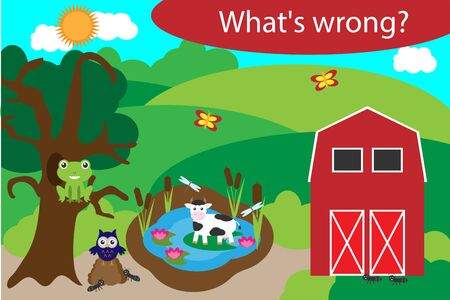 What's wrong, find mistakes with animals for children, fun education game for kids, preschool worksheet activity, task for the development of logical thinking, vector Иллюстрация