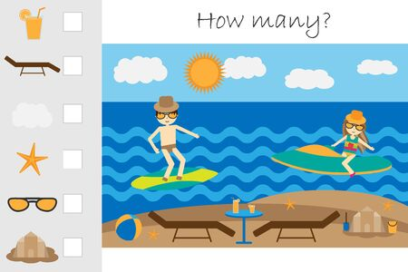 How many counting game, summer beach with people for kids, educational maths task for the development of logical thinking, preschool worksheet activity, count and write the result, vector Иллюстрация