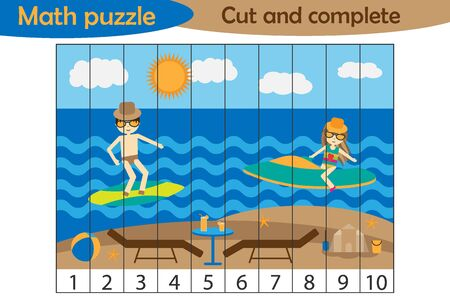 Math puzzle, summer beach with people in cartoon style, education game for development of preschool children, use scissors, cut parts of the image and complete the picture, vector