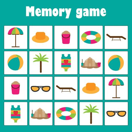 Memory game with summer beach pictures for children, xmas fun education game for kids, preschool activity, task for the development of logical thinking, vector