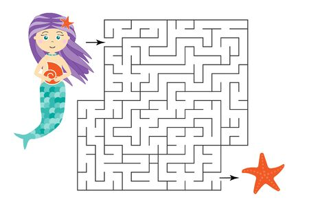 Labyrinth game, help the mermaid to find a way out of the maze, cute cartoon character, preschool worksheet activity for kids, task for the development of logical thinking, vector