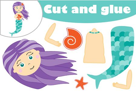 Mermaid in cartoon style, education game for the development of preschool children, use scissors and glue to create the applique, cut parts of the image and glue on the paper, vector