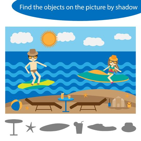 Find the objects by shadow, game with summer beach for children in cartoon, education game for kids, preschool worksheet activity, task for the development of logical thinking, vector Иллюстрация