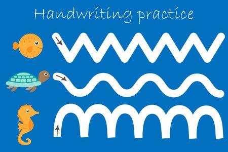 Ocean and sea animals puffer fish, turtle, seahorse, handwriting practice sheet, kids preschool activity, educational children game, printable worksheet, writing training, vector Ilustracja