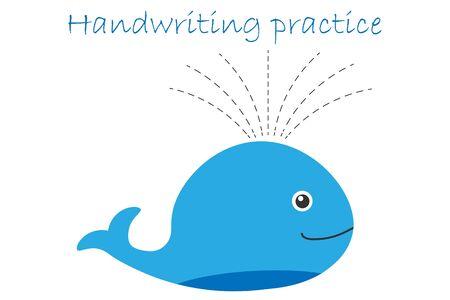 Handwriting practice sheet, whale in cartoon style, kids preschool activity, educational children game, printable worksheet, writing training, vector