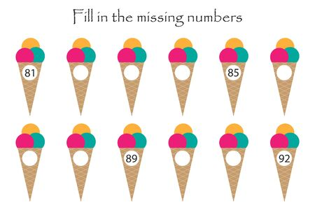 Game with ice creams for children, fill in the missing numbers, middle level, education game for kids, school worksheet activity, task for the development of logical thinking, vector