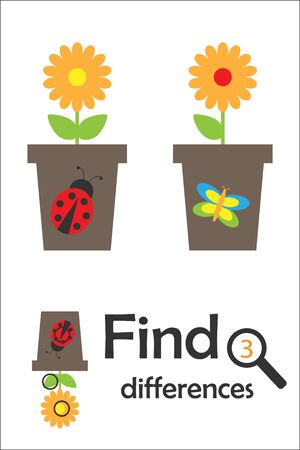 Find 3 differences, game for children, pot with flower in cartoon style, education game for kids, preschool worksheet activity, task for the development of logical thinking, vector 向量圖像