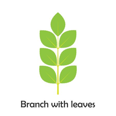 Branch with leaves in cartoon style, spring card for kid, preschool activity for children, vector Иллюстрация