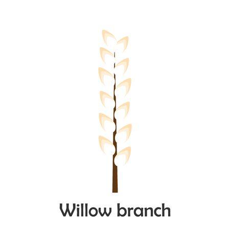 Willow branch in cartoon style, spring card for kid, preschool activity for children, vector