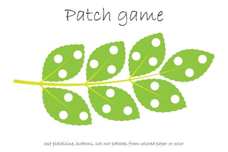 Education Patch game branch with leaves for children to develop motor skills, use plasticine patches, buttons, colored paper or color the page, kids preschool activity, printable worksheet
