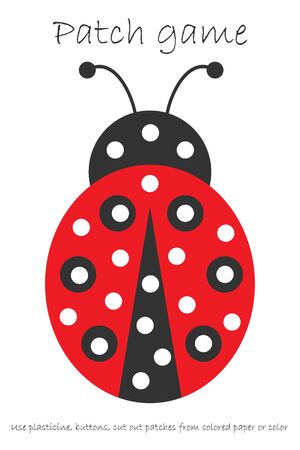 Education Patch game ladybug for children to develop motor skills, use plasticine patches, buttons, colored paper or color the page, kids preschool activity, printable worksheet Ilustración de vector
