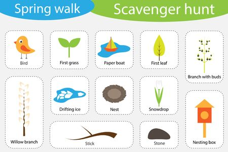 Scavenger hunt, spring walk, different colorful pictures for children, fun education search game for kids, development for toddlers, preschool activity, set of icons, vector