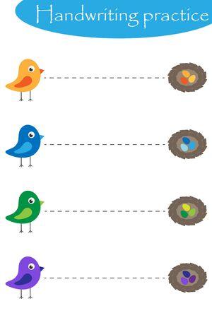 Birds and nestis, spring handwriting practice sheet, kids preschool activity, educational children game, printable worksheet, writing training, vector