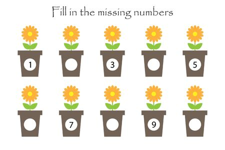 Game with flowers in pots for children, fill in the missing numbers, easy level, education game for kids, school worksheet activity, task for the development of logical thinking, vector