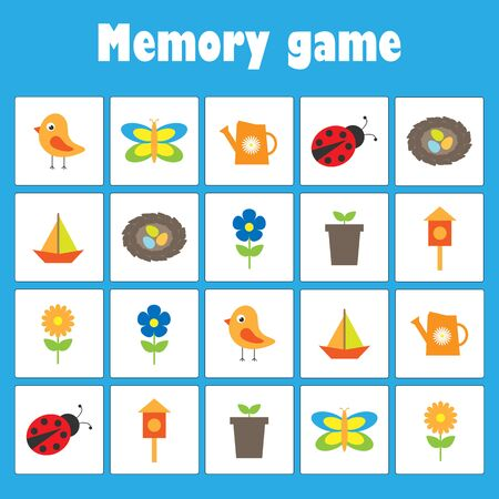 Memory game with pictures - spring and garden theme for children, xmas fun education game for kids, preschool activity, task for the development of logical thinking, vector Vectores