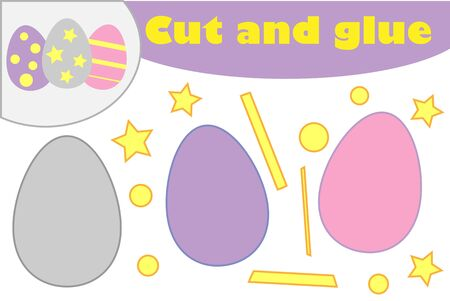 Eggs in cartoon style, education easter game for the development of preschool children, use scissors and glue to create the applique, cut parts of the image and glue on the paper, vector
