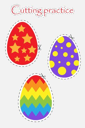 Easter decoration eggs in cartoon style, cutting practice, education game for the development of preschool children, use scissors, cut the images, vector