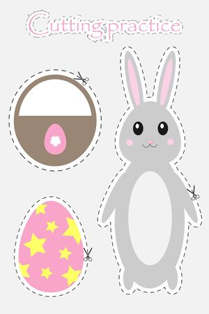 Easter egg, bunny and basket in cartoon style, cutting practice, education game for the development of preschool children, use scissors, cut the images, vector