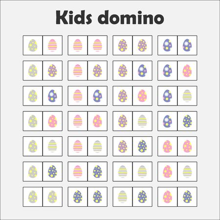 Domino game with pictures easter eggs for children, fun education game for kids, preschool activity, task for the development of thinking, vector Çizim