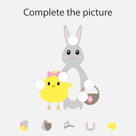 Complete the puzzle and find the missing parts of the picture, fun education easter game for children, preschool worksheet activity for kids, task for the development of logical thinking