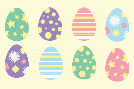 Set of colorful ornament easter eggs in cartoon style, simple flat design, vector