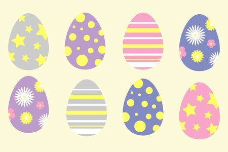 Set of colorful ornament easter eggs in cartoon style, spring time, simple flat design, vector Vectores