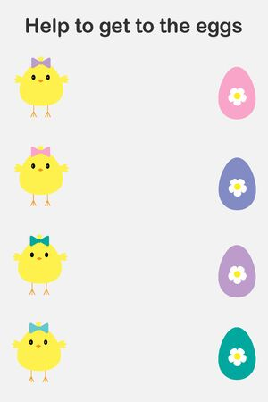 Chick cartoon style, help to get to eggs, color of egg the same color of bow on head, education paper easter game for the development of preschool children, printable worksheet, vector