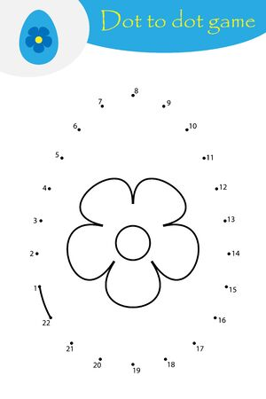 Easter egg in cartoon style, dot to dot game, coloring page, education numbers game for the development of children, kids preschool activity, printable worksheet, vector