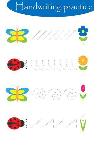 Butterflies and ladybugs, spring handwriting practice sheet, kids preschool activity, educational children game, printable worksheet, writing training, vector