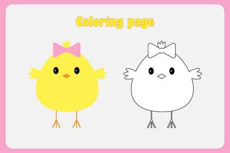 Chick in cartoon style, coloring page, easter education paper game for the development of children, kids preschool activity, printable worksheet, vector