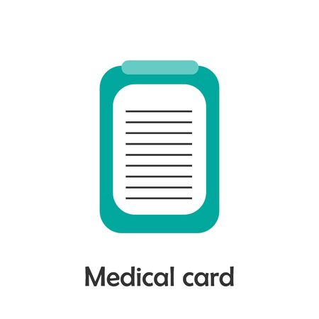 Medical card in cartoon style, medical card for kid, preschool activity for children, vector Vectores