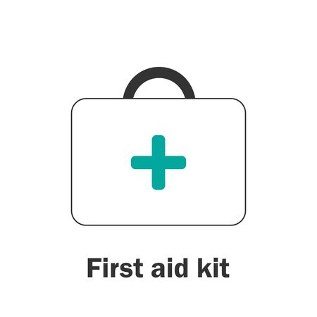 First aid kit in cartoon style, medical card for kid, preschool activity for children, vector
