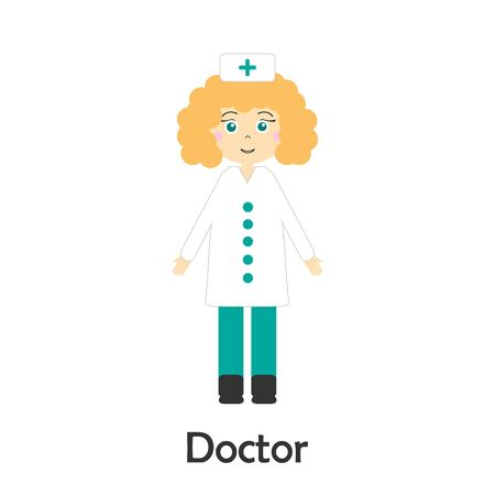 Doctor in cartoon style, medical card for kid, preschool activity for children, vector