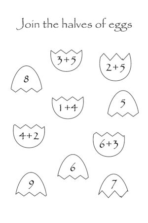 Find the second part of easter eggs in cartoon style for children, join the halves, preschool worksheet activity for kids, maths task for the development of logical thinking, vector Ilustração